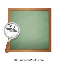 Magnifying glass character cartoon design and text box green...