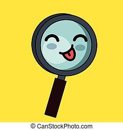 magnifying glass character kawaii