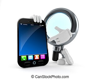 Magnifying glass character with smartphone