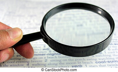 Magnifying glass, close up image