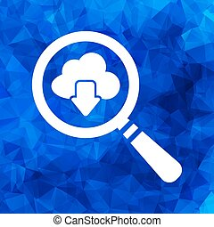 magnifying glass cloud computing download icon on a blue triangu