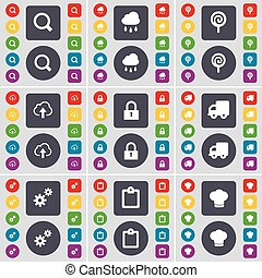 Magnifying glass, Cloud, Lollipop, Cloud, Lock, Truck, Gear, Survey, Cooking hat icon symbol. A large set of flat, colored buttons for your design. Vector