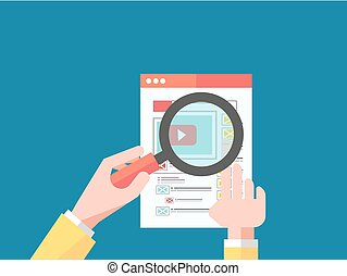 Magnifying Glass Data Analysis - Data analysis concept on...