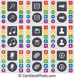 Magnifying glass, Database, Trumped, Note, Floppy, Avatar, Microphone, Clip, Compass icon symbol. A large set of flat, colored buttons for your design. Vector