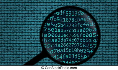 Magnifying glass discovers blockchain word on computer...