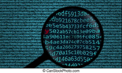Magnifying glass discovers digital identity text on computer...