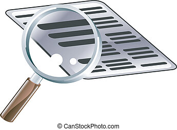 Magnifying Glass Document Search Icon Illustration