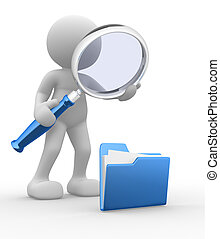 Magnifying glass - 3d people - man, person with a folder and...