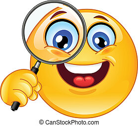 Magnifying glass emoticon - Emoticon holding a magnifying...