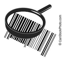 magnifying glass enlarging barcode