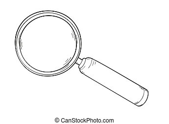 magnifying glass - sketch of the elegant magnifying glass,...