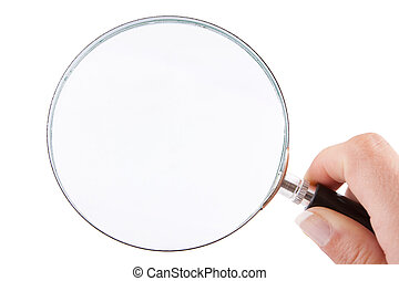 Magnifying glass - Female hand holding a magnifying glass...