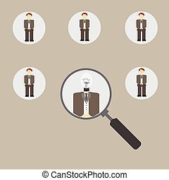 Magnifying glass focused on a person. - Magnifying glass...