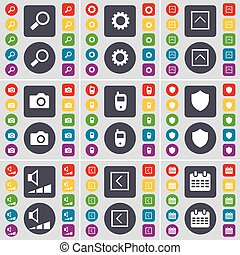 Magnifying glass, Gear, Arrow up, Camera, Mobile phone, Badge, Volume, Arrow left, Calendar icon symbol. A large set of flat, colored buttons for your design. Vector