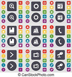 Magnifying glass, Gear, Plus one, Dictionary, Cash register, Receiver, Arrow right, Camera, Microphone icon symbol. A large set of flat, colored buttons for your design. Vector