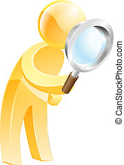 Magnifying glass gold person - An illustration of a gold man...