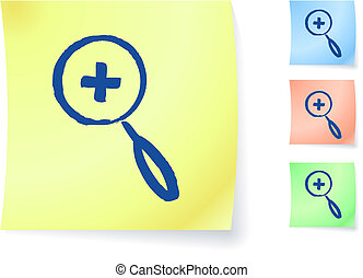 magnifying glass graphic on sticky note