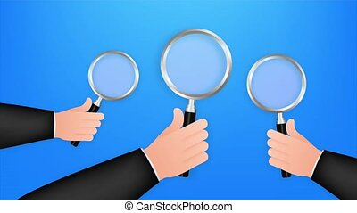 Magnifying glass hand for web background design. Magnifying glass icon. stock illustration