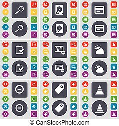 Magnifying glass, Hard drive, Credit card, Survey, Picture, Cloud, Minus, Tag, Cone icon symbol. A large set of flat, colored buttons for your design. Vector