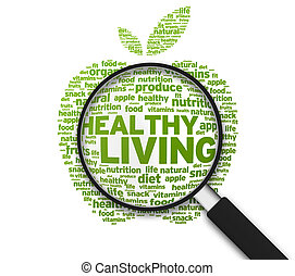 Magnifying Glass - Healthy Living - Magnified Apple with the...