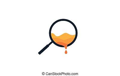 magnifying glass honey bee logo vector icon illustration design