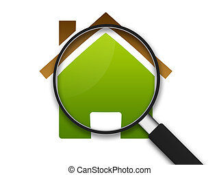 Magnifying Glass zooming in on a clipart house .
