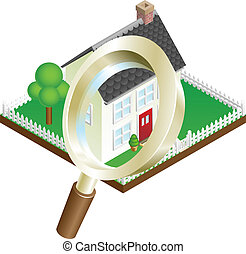 Magnifying glass zooming on house or house search concept illustration