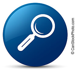 Magnifying glass icon blue round button