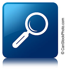 Magnifying glass icon blue square button