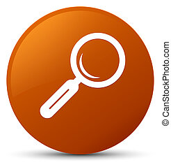 Magnifying glass icon brown round button
