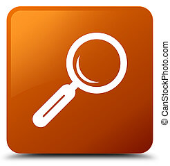 Magnifying glass icon brown square button