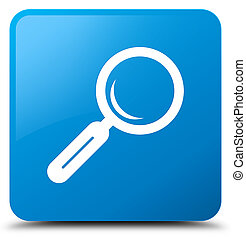 Magnifying glass icon cyan blue square button