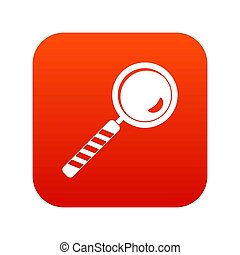 Magnifying glass icon digital red