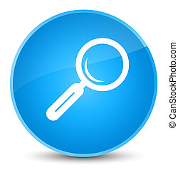 Magnifying glass icon elegant cyan blue round button