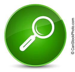 Magnifying glass icon elegant green round button
