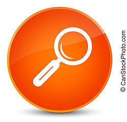 Magnifying glass icon elegant orange round button