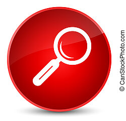 Magnifying glass icon elegant red round button