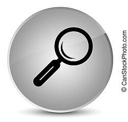 Magnifying glass icon elegant white round button