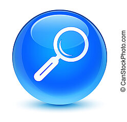 Magnifying glass icon glassy cyan blue round button