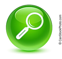 Magnifying glass icon glassy green round button