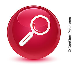 Magnifying glass icon glassy pink round button
