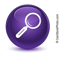 Magnifying glass icon glassy purple round button