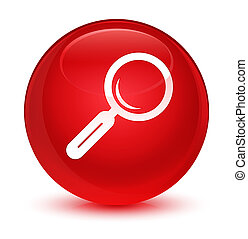 Magnifying glass icon glassy red round button