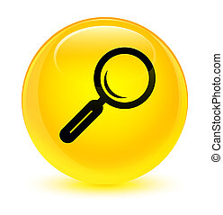 Magnifying glass icon glassy yellow round button