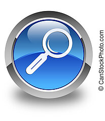 Magnifying glass icon glossy blue round button