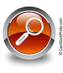 Magnifying glass icon glossy brown round button