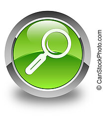 Magnifying glass icon glossy green round button