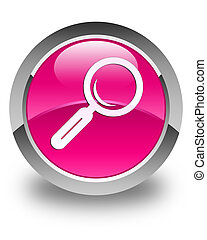 Magnifying glass icon glossy pink round button