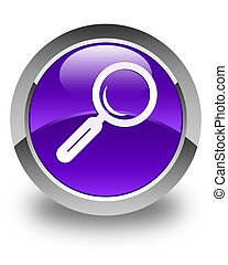 Magnifying glass icon glossy purple round button