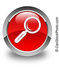 Magnifying glass icon glossy red round button